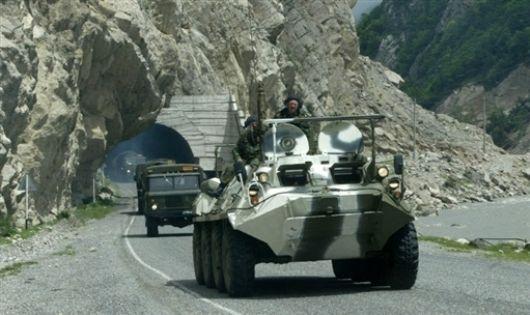 Рокский тоннель, колонна российских войск
