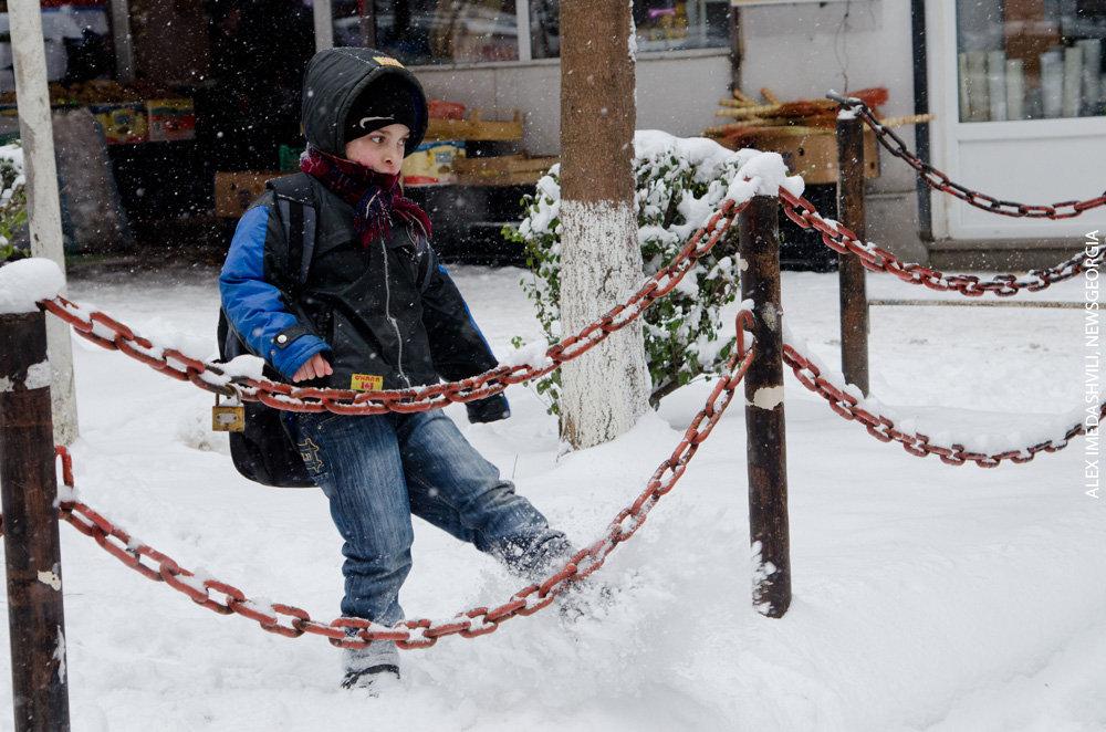 зима снег мороз дети
