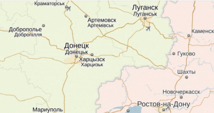 Донецк и Луганск, карта