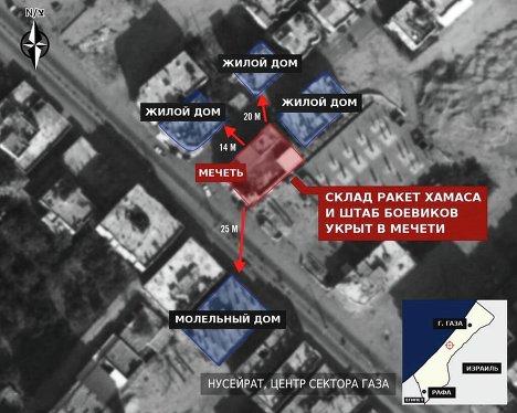 Израиль заявляет, что боевики ХАМАС в секторе Газа укрываются в жилых домах и мечетях.