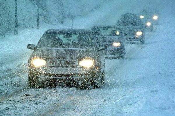 снег зимняя дорога снегопад