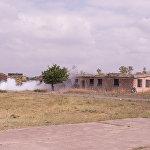 В ходе учений три здания были освобождены от боевиков, после чего началась зачистка территории.