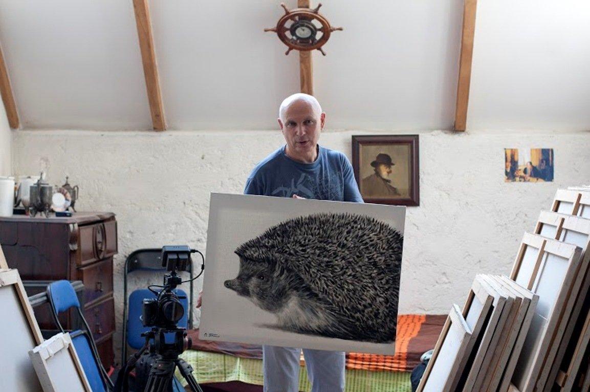 Евгений Кожокин на встрече с художником в Грузии