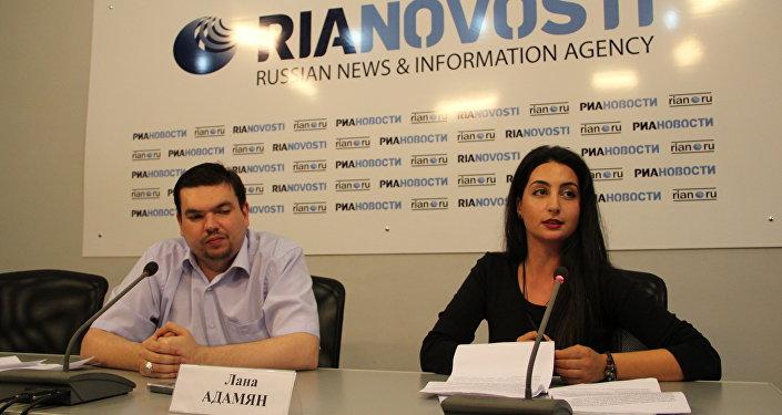 Лана Адамян и Александр Беженцев на пресс-конференции