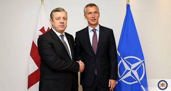 Глава МИД Грузии Георгий Квирикашвили и генсек НАТО Йенс Столтенберг