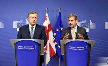 Глава МИД Георгий Квирикашвили и еврокомиссар Йоханнес Хан