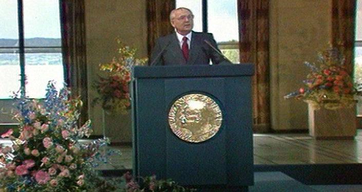 მიხეილ გორბაჩოვი ოსლოში ნობელის ლექციით გამოდის. 1991 წლის კადრები