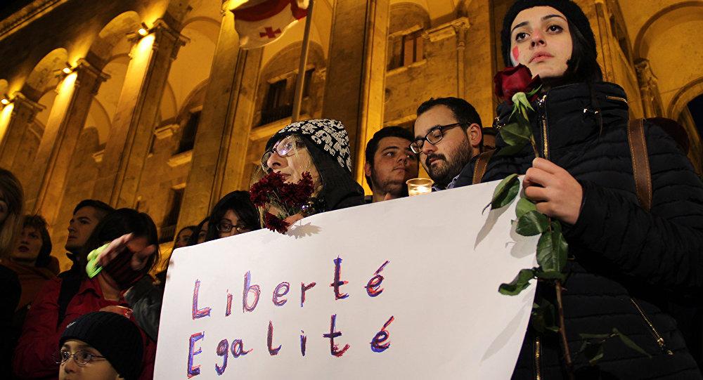 акция в поддержку Франции у парламента Грузии