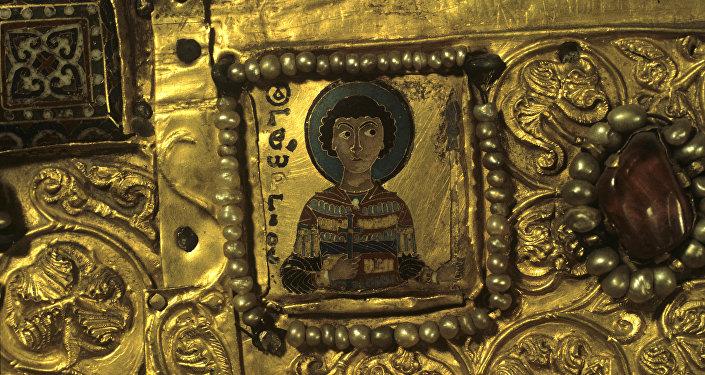 Фрагмент Хахульской иконы. Святой Георгий