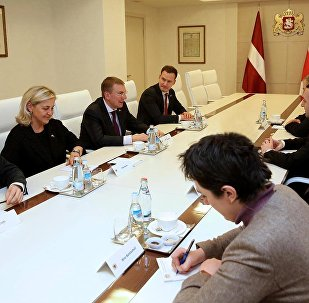 Встреча министр иностранных дел Латвии Эдгарса Ринкевичса с премьер-министром Грузии Ираклием Гарибашвили