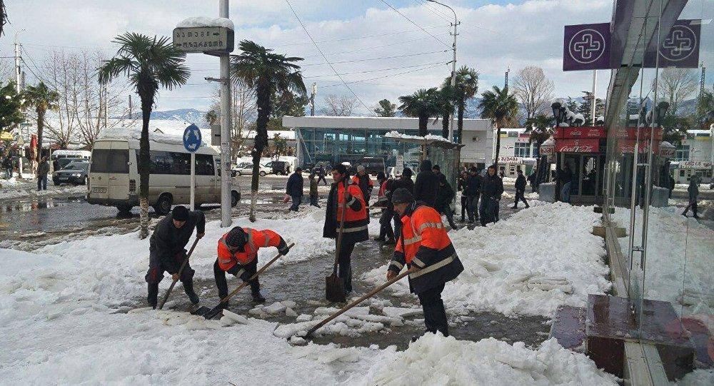 снегопад в Кобулети, Аджария