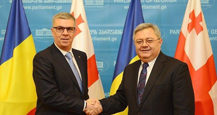 Председатель палаты представителей парламента Румынии Валериу Згоня и Давид Усупашвили