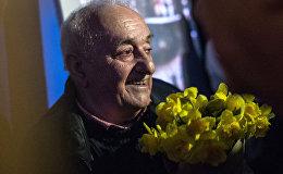Грузинский художник, скульптор Резо Габриадзе на открытии мультимедийного проекта Необыкновенная выставка в Красном зале Музея Москвы.