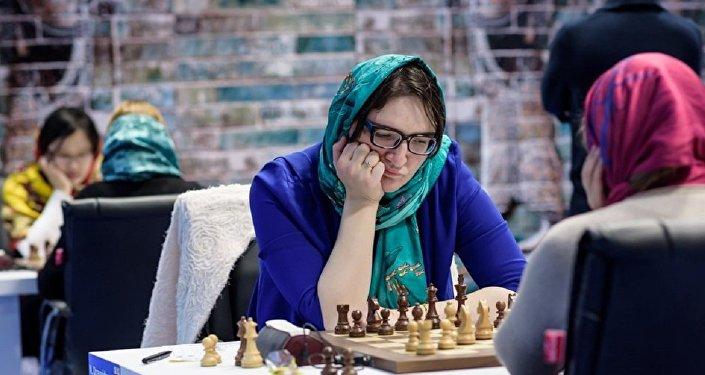 Лидер женской сборной Грузии по шахматам Нана Дзагнидзе во втором туре Гран-При Тегеран