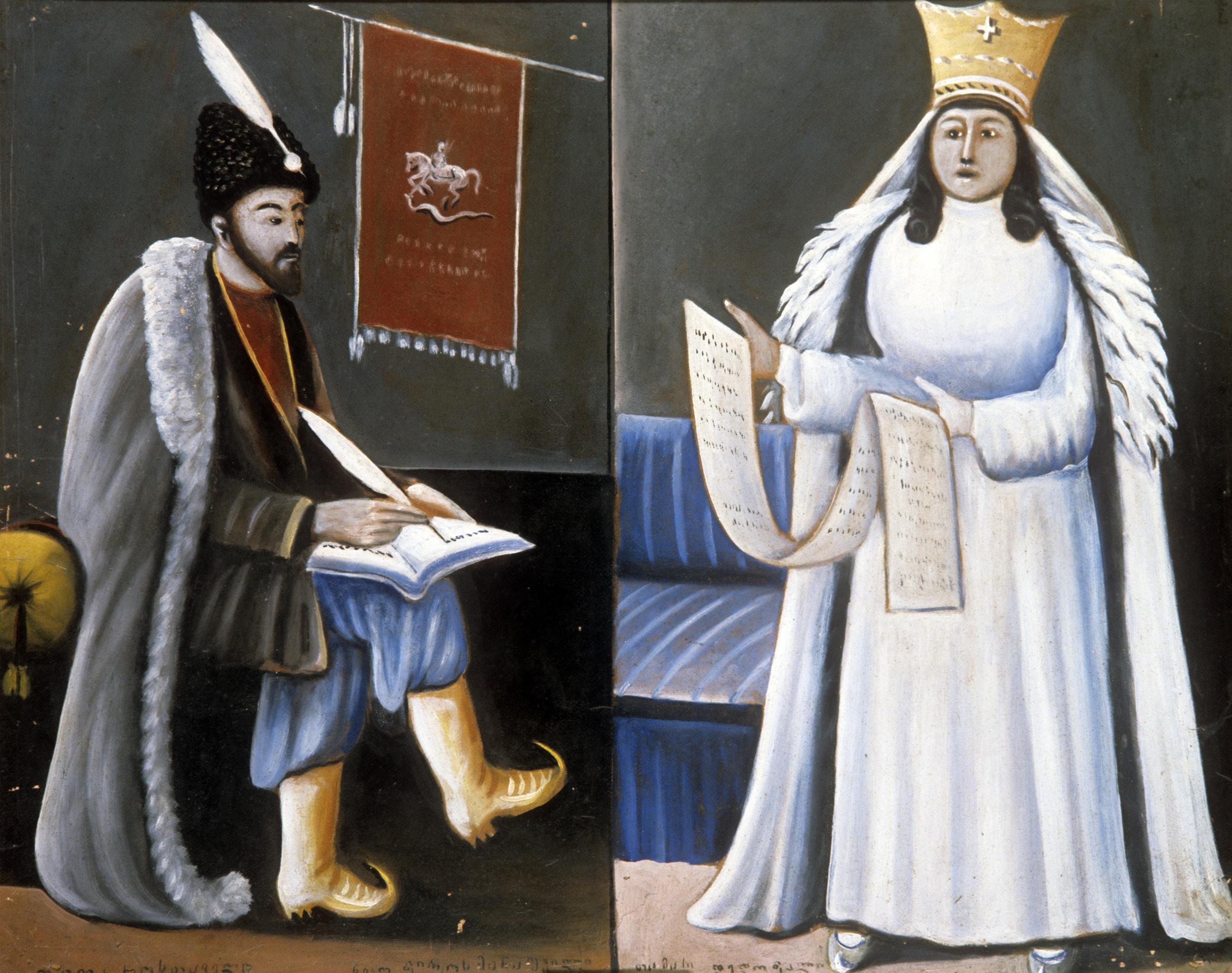 Репродукция картины художника Нико Пиросмани Шота Руставели преподносит поэму царице Тамаре