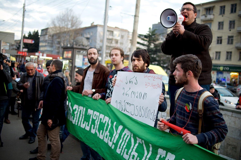Защитники прав шахтеров проводят акцию в грузинской столице