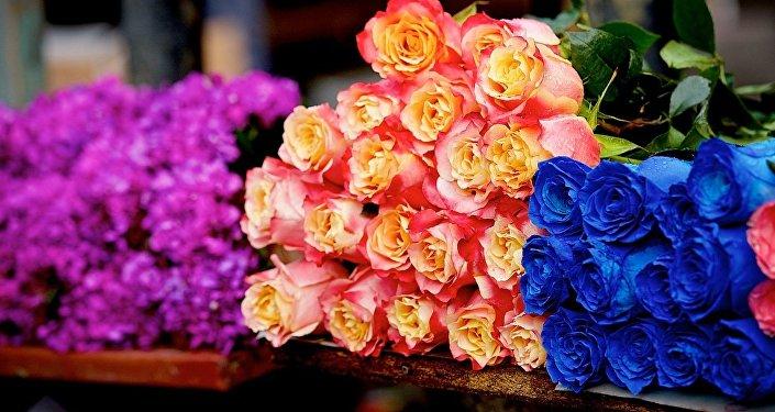 Розы всевозможных расцветок на цветочном базаре