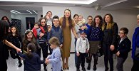 ეველინა ბლედანსი დაუნის სინდრომის მქონე ბავშვებთან შეხვედრაზე
