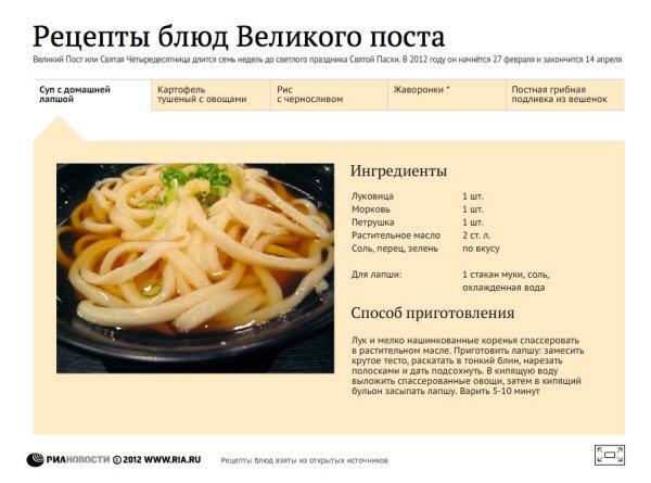 Блюда для тех, кто соблюдает пост