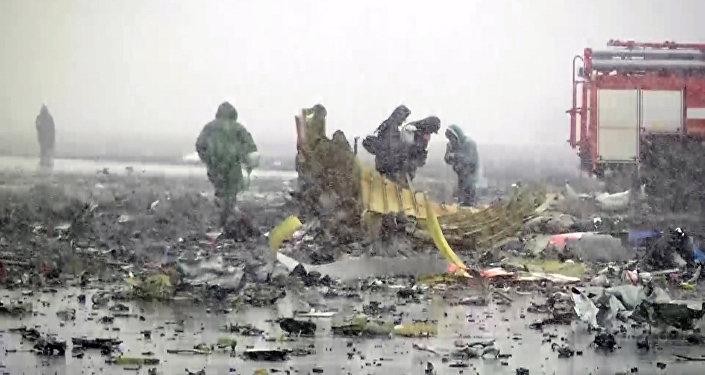 На месте крушения Boeing в Ростове-на-Дону