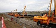 Строительные работы по расширению Южно-Кавказского газопровода вблизи Рустави