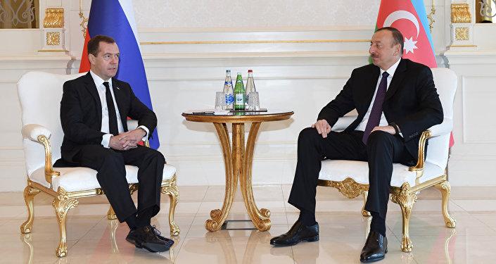 Встреча Президента Азербайджана Ильхама Алиева с председателем Правительства России Дмитрием Медведевым