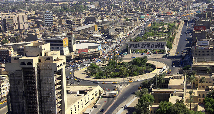 An aerial view of Tahrir Square in downtown Baghdad, Iraq