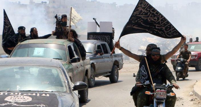Сирия Алеппо Аль-Каида террористическая организация флаг боевики