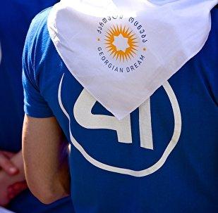 Сторонник Грузинской мечты у тбилисского Дворца спорта, где проходит IV съезд партии
