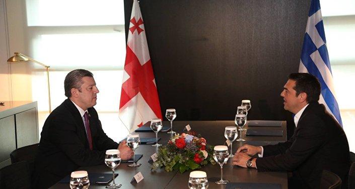 Премьер Грузии Георгий Квирикашвили и премьер Греции Алексис Ципрас