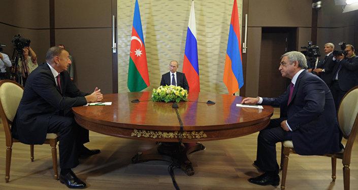 Трехсторонняя встреча В.Путина с И.Алиевым и С.Саргсяном