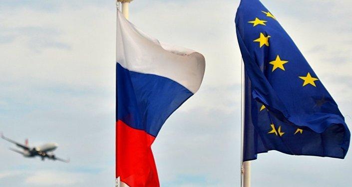 Rusiya və Avropa İttifaqının bayraqları. Arxiv şəkli