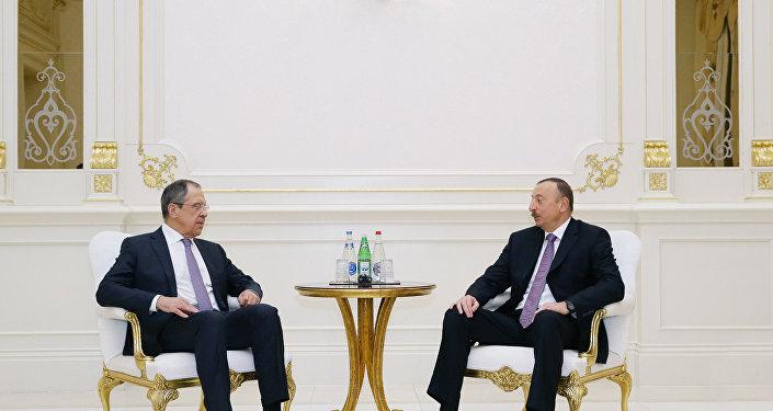 Встреча президента Азербайджана Ильхама Алиева и министра иностранных дел России Сергея Лаврова. Архивное фото