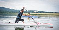 Заза Надирадзе тренируется на озере Базалети