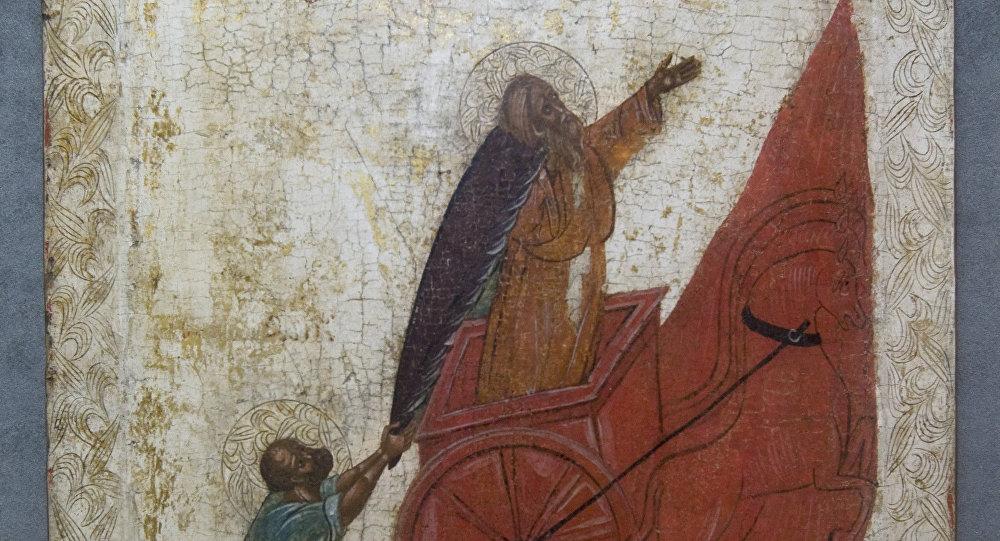 Икона Огненное восхождение пророка Ильи на небо