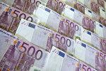 Денежные купюры и монеты разных стран. 500 евро
