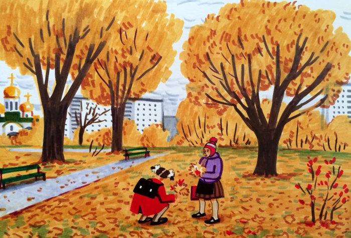 *Желтые листья*. Автор: Zoya Cherkassky-Nnadi