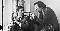 Фрунзик Мкртчян и Вахтанг Кикабидзе в Москве гостинице Россия во время съемок кинофильма Мимино.