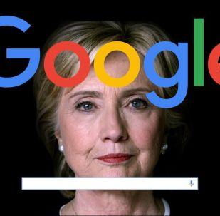 Надпись Google на портрете Хиллари Клинтон