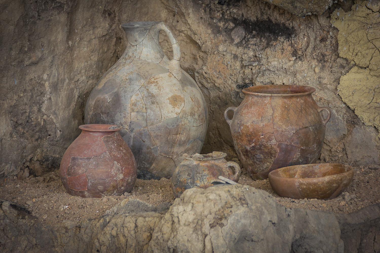 Отреставрированная посуда, найденная при археологических раскопках в Игоети