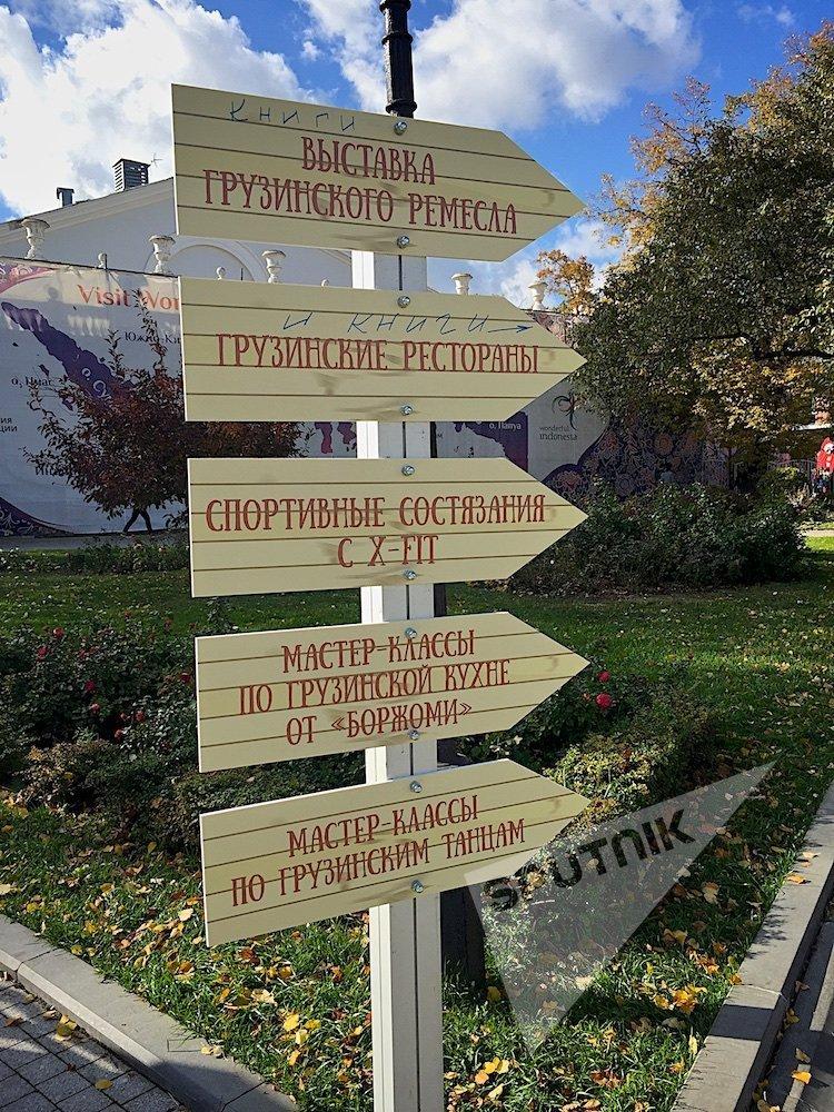 Указатели в саду Эрмитаж в день фестиваля Тбилисоба в Москве