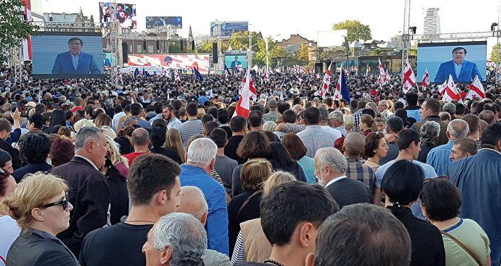 Акция партии Единое национальное движение в центре Тбилиси