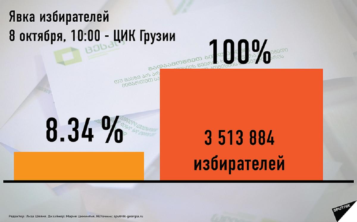 За 5 часов доконца выборов вГрузии проголосовали 34,8% избирателей