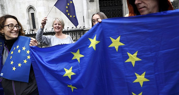 Люди на улицах Лондона с флагами ЕС