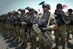 Грузинские военнослужащие-контрактники перед началом международных военных учений