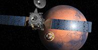 Изображение ExoMars 2016 во время отстыковки посадочного модуля на фоне Марса