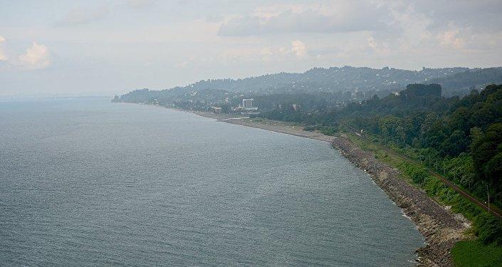 Черноморское побережье Грузии - вид со смотровой площадки Батумского ботанического сада