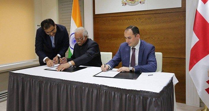 Подписание меморандума о сотрудничество в сфере гражданской авиации между Грузией и Индией