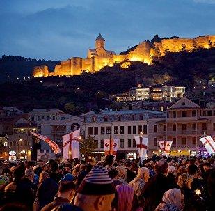 Исторический центр Тбилиси в День ста тысяч мучеников
