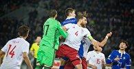 Напряженный момент в матче сборных Грузии и Молдовы у ворот грузинской команды